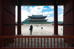 Tourists Gyeongbokgung Palace Gate Door Courtyard Stock Image