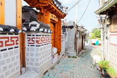 SEOUL, KOREA - AUGUST 09, 2015: Traditional houses of residential area at Seochon Hanok Village in Seoul, South Korea Stock Images