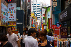 Seoul Busy Shopping Area Signs People Shoppers Stock Photography