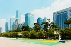 SEOUL, KOREA - AUGUST 14, 2015: Yeouido island - Seoul`s main finance and investment banking district - Seoul, South Korea. SEOUL, KOREA - AUGUST 14, 2015 stock images
