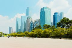 SEOUL, KOREA - AUGUST 14, 2015: Yeouido - Seoul`s main finance and investment banking district - Seoul, South Korea Stock Photography
