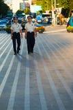 Young Korean Men Police Patrol Seoul Downtown Stock Photos
