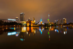 Natt för nöjesfält för Lotte världsSeoul Korea munterhet Arkivbild