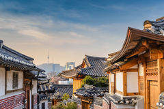 Seoul, Korea. Bukchon Hanok Village and Seoul city skyline, Seoul, South Korea stock image