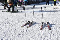 Seoul, KOREA - 28. Januar 2017: Ski auf dem Schnee Stockfotos