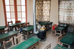 Old school classroom at The National Folk Museum of Korea. Seoul, Korea - January 17, 2016 : Old school classroom at The National Folk Museum of Korea stock image