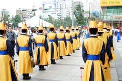 SEOUL KOREA - JULI 28, 2009: ändra av vaktceremonin av Arkivfoto