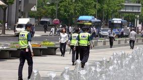 Seoul, Korea - May 29, 2018: Police Officers Patrol Gwanghwamun Square