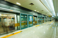 Seoul Subway Clean Platform Stop Underground Royalty Free Stock Photo