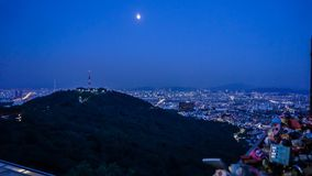 Seoul, Korea skyline view from Namsan tower. Cityscape landscape Royalty Free Stock Photos