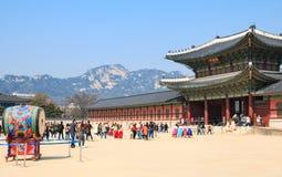 domestic and international tourists visit Gyeongbokgung Palace in Seoul, Korea stock photo