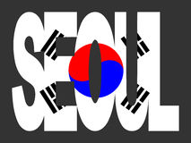 Seoul with Korean flag Stock Photos