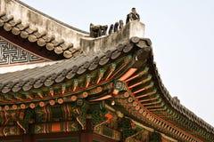 Seoul koreansk traditionell arkitektur, asiatiskt tak Arkivfoto