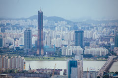 Seoul, looking toward Yeouido Island Royalty Free Stock Photos