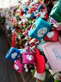 From Seoul With Love. Love Locks attached to viewing platform at N Seoul Tower as a way to secure a couple& x27;s love Stock Photography