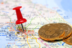 Seoul in map with chinese coins Stock Images