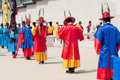 SEOUL - MARCH 30: Royal guards during the changing of the guard Royalty Free Stock Image