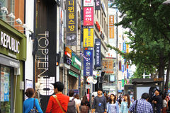 Seoul Myeongdong Fotos de Stock Royalty Free
