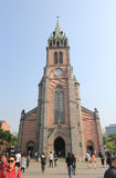 Seoul Myeongdong Cathedral. Myeongdong Cathedral is a prominent Roman Catholic church in the Myeongdong district of Seoul, South Korea, and the seat of the Stock Photography