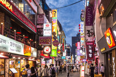 Seoul-Nachtleben Lizenzfreies Stockbild