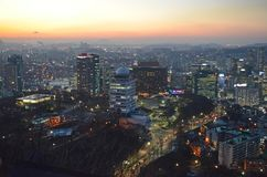 Seoul night, South Korea, 12-19-2012: Cityscape at N Seoul Tower, Seoul, South Korea Royalty Free Stock Images