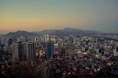 Seoul night, South Korea, 12-19-2012: Cityscape at N Seoul Tower, Seoul, South Korea Royalty Free Stock Photo