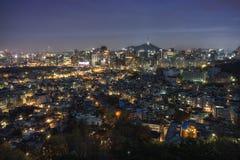 Seoul Night view from Inwangsan Royalty Free Stock Photos