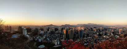 Seoul no por do sol Fotografia de Stock Royalty Free