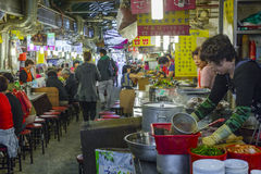 SEOUL - OCTOBER 21, 2016: Traditional food market in Seoul, Kore Royalty Free Stock Photo