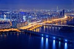 Seoul på natten, Sydkorea Arkivfoto