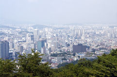 Seoul panorama. Aerial panoramic view on South Korea capital, Seoul Royalty Free Stock Images