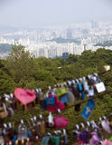 Seoul panorama. Aerial view on South Korea capital, Seoul. Lucky padlocks blurred in the foreground Royalty Free Stock Image