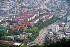 Seoul panorama. Aerial panoramic view on South Korea capital, Seoul Stock Photos