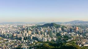 Seoul Panorama. Aerial panoramic view on South Korea capital, Seoul Royalty Free Stock Photography