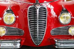 Seoul - 03.18.2019: A red retro car close-up front view royalty free stock photography