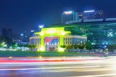 Seoul, Südkorea - 30. April 2016: Rathaus-Gebäude von Seoul-Stadtregierung schoss nachts am 16. August 2015 in Seoul Stockfoto