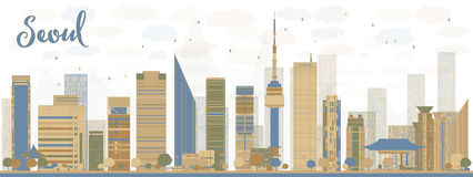 Seoul skyline with blue and brown buildings Royalty Free Stock Photography