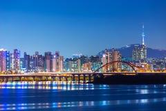 Seoul skyline. Seoul city skyline at night Stock Photos