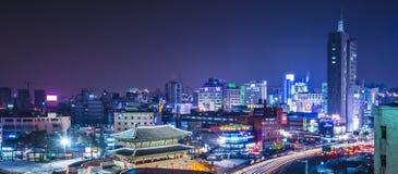 Seoul Skyline. SEOUL - FEBRUARY 13: Seoul Panorama at Namdaemun Gate February 13, 2013 in Seoul, ROK. With over 25 million people, nearly half of South Koreans Stock Image