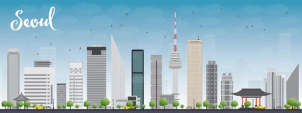 Seoul skyline with grey building and blue sky Royalty Free Stock Photo