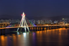 Seoul skyline, Korea. The Olympic bridge on Han river against Seoul Skyline at night, Korea Royalty Free Stock Photography