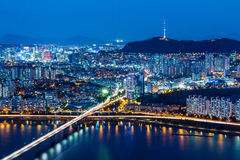 Seoul skyline from peak Royalty Free Stock Image