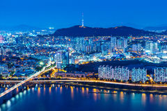 Seoul skyline from peak Stock Photography