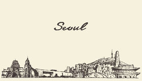 Seoul skyline South Korea illustration draw sketch Royalty Free Stock Image