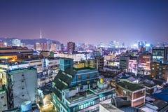 Seoul Skyline. Seoul, South Korea with Seoul Tower in the distance Stock Photos