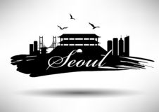 Seoul Skyline with Typography Design royalty free illustration