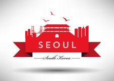 Seoul Skyline with Typography Design vector illustration