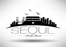 Seoul Skyline with Typography Design stock illustration