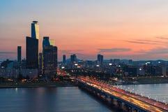 Seoul solnedgång Arkivbilder