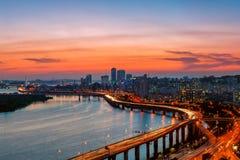 Seoul solnedgång Fotografering för Bildbyråer